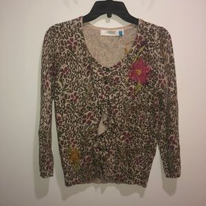 Anthropologie Sparrow Size S Brown Floral Sweater